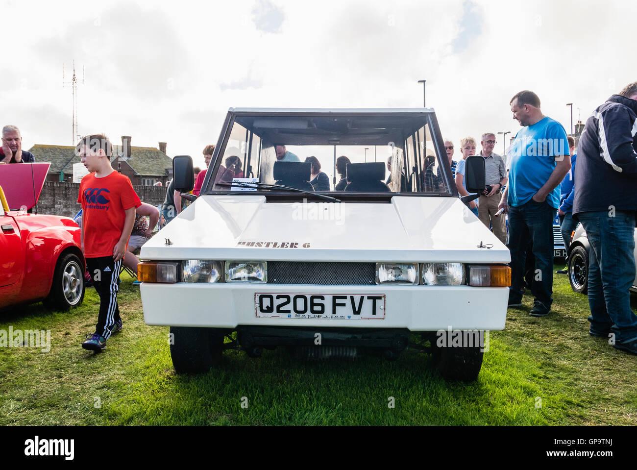 Hustler 6 6-wheeled kit car, based on a Mini, and designed by Aston Martin Lagonda's William Towns. - Stock Image