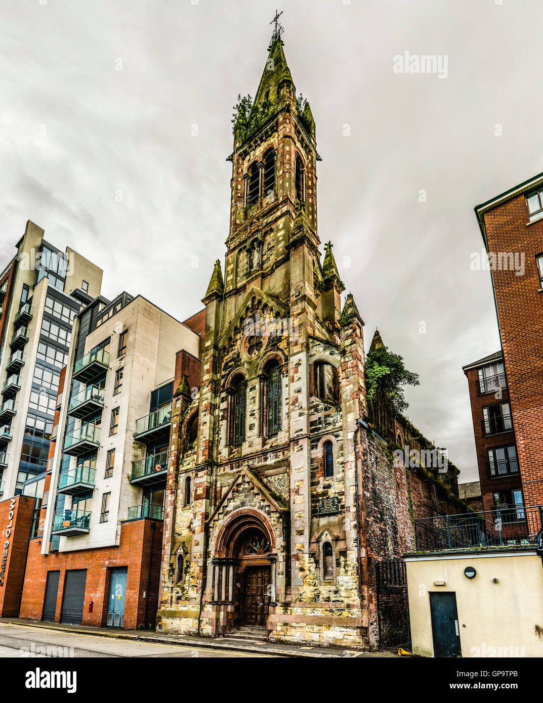 St. Joseph's Chapel, a Roman Catholic church in Belfast's Sailortown area which has closed due to falling congregation Stock Photo