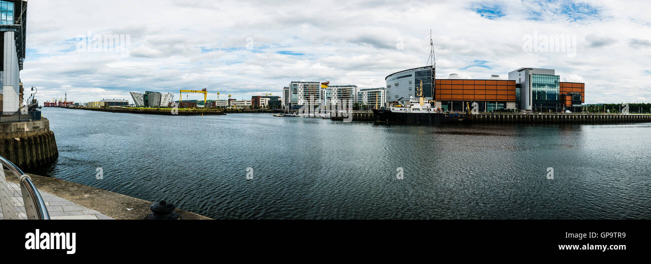 Titanic Belfast, Harland and Wolff cranes, Titanic Studios and the SSE Arena viewed across the River Lagan, Belfast. Stock Photo