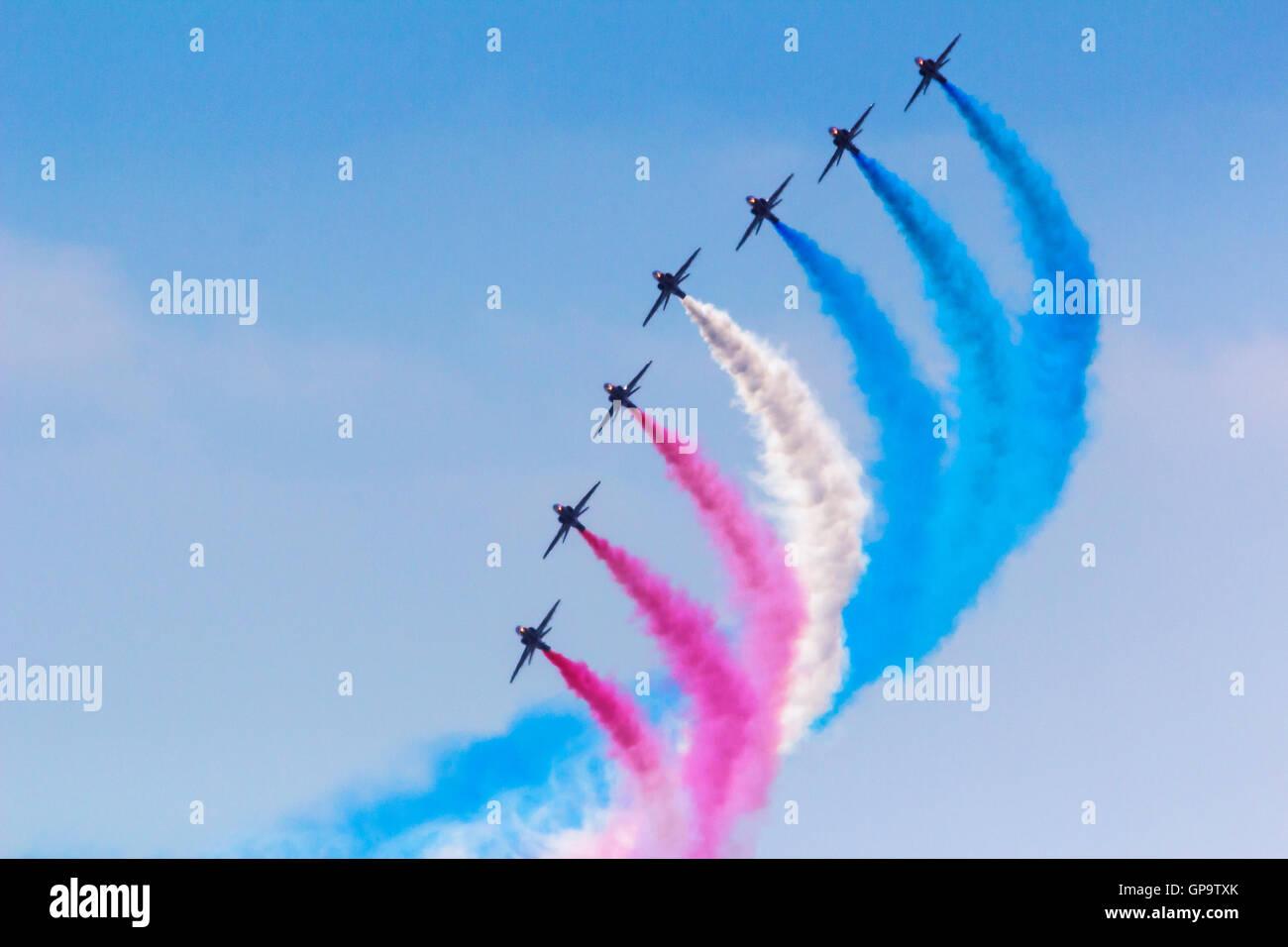 Red Arrows RAF Aerobatics Display Team at Eastbourne International Airshow Airbourne 2016 - Stock Image
