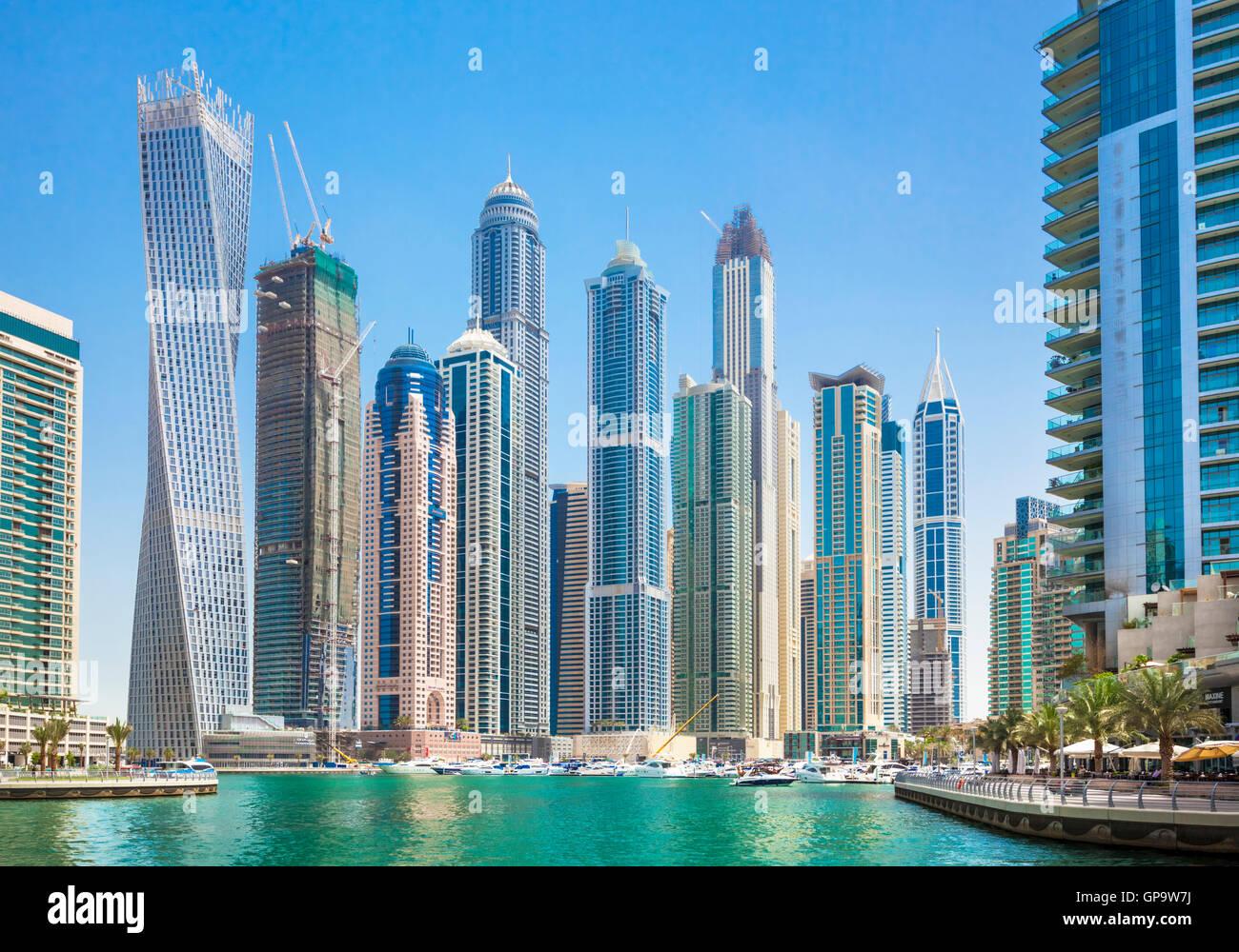 Dubai Marina Skyline and harbour Dubai City United Arab Emirates UAE Middle east - Stock Image