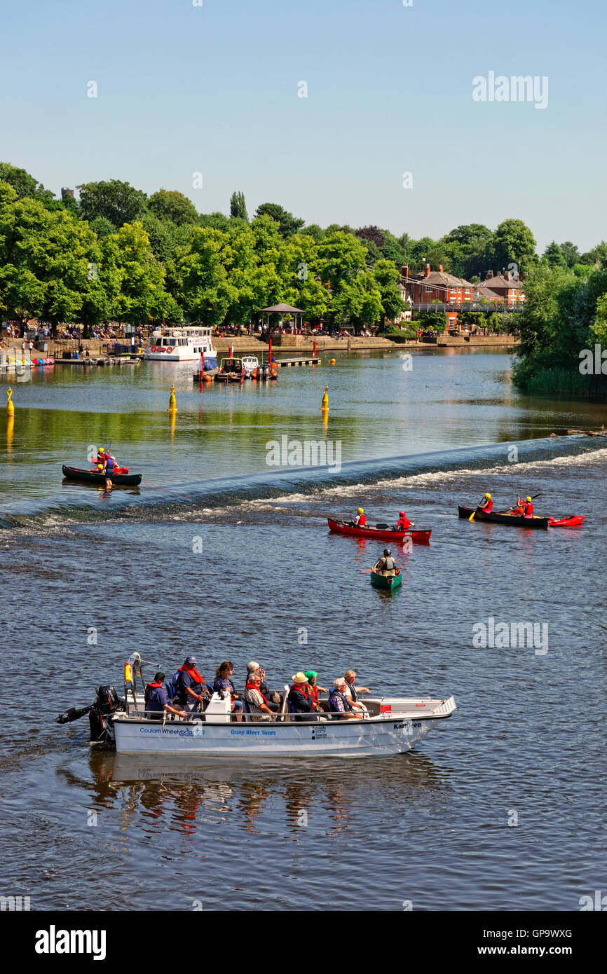 Leisure boating on the River Dee at Chester, county town of Cheshire, England. UK - Stock Image