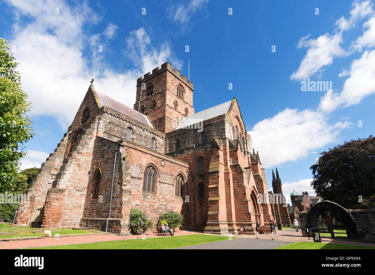 View from the south west of Carlisle cathedral, Cumbria, England, UK - Stock Image