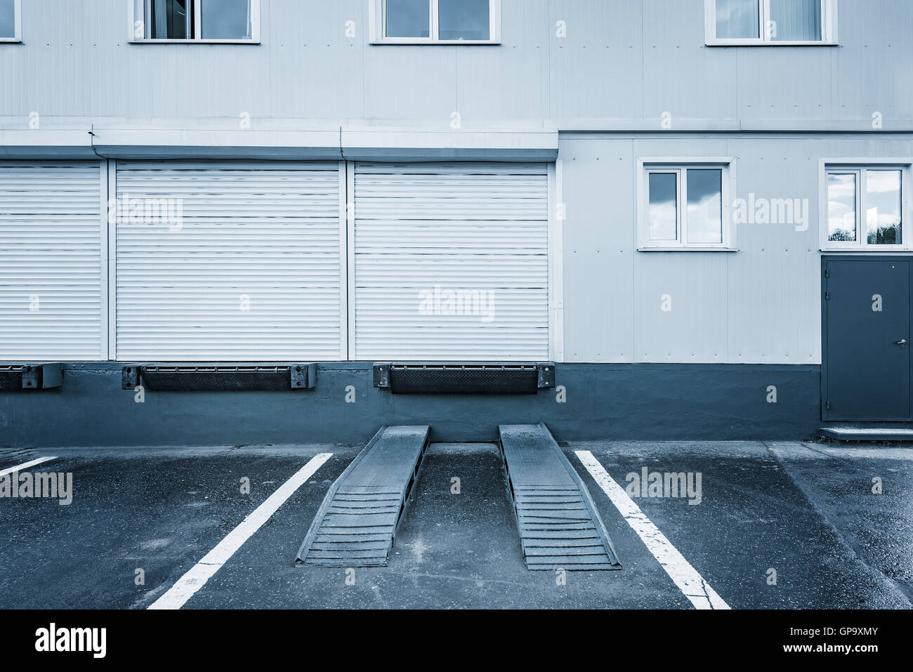 Exterior of the storage units at evening time. - Stock Image & Secure Storage Units Stock Photos u0026 Secure Storage Units Stock ...