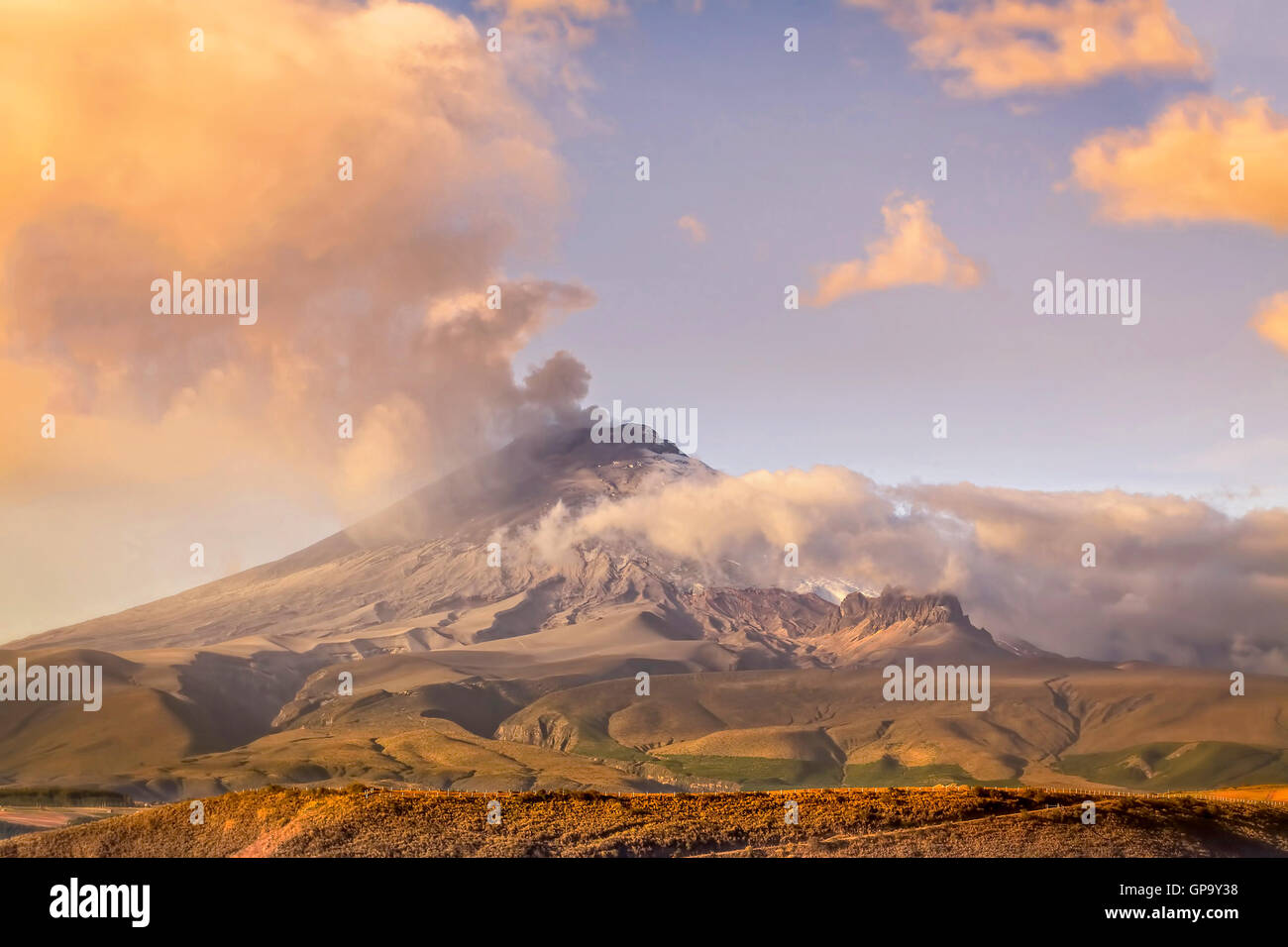 Cotopaxi Volcano Erupting In Ecuador, South America - Stock Image