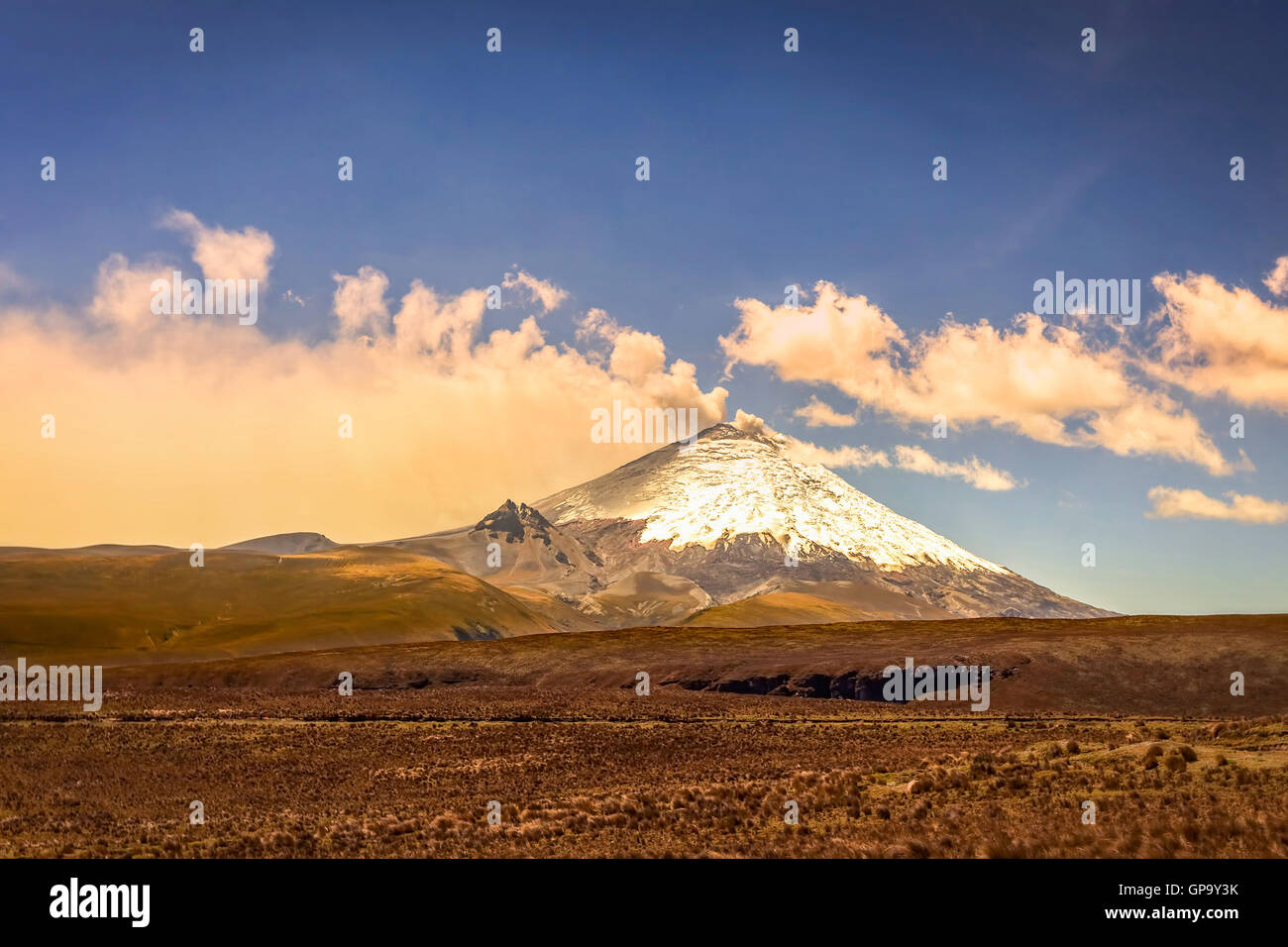 Ash Clouds Above Cotopaxi Volcano, Ecuador, South America - Stock Image