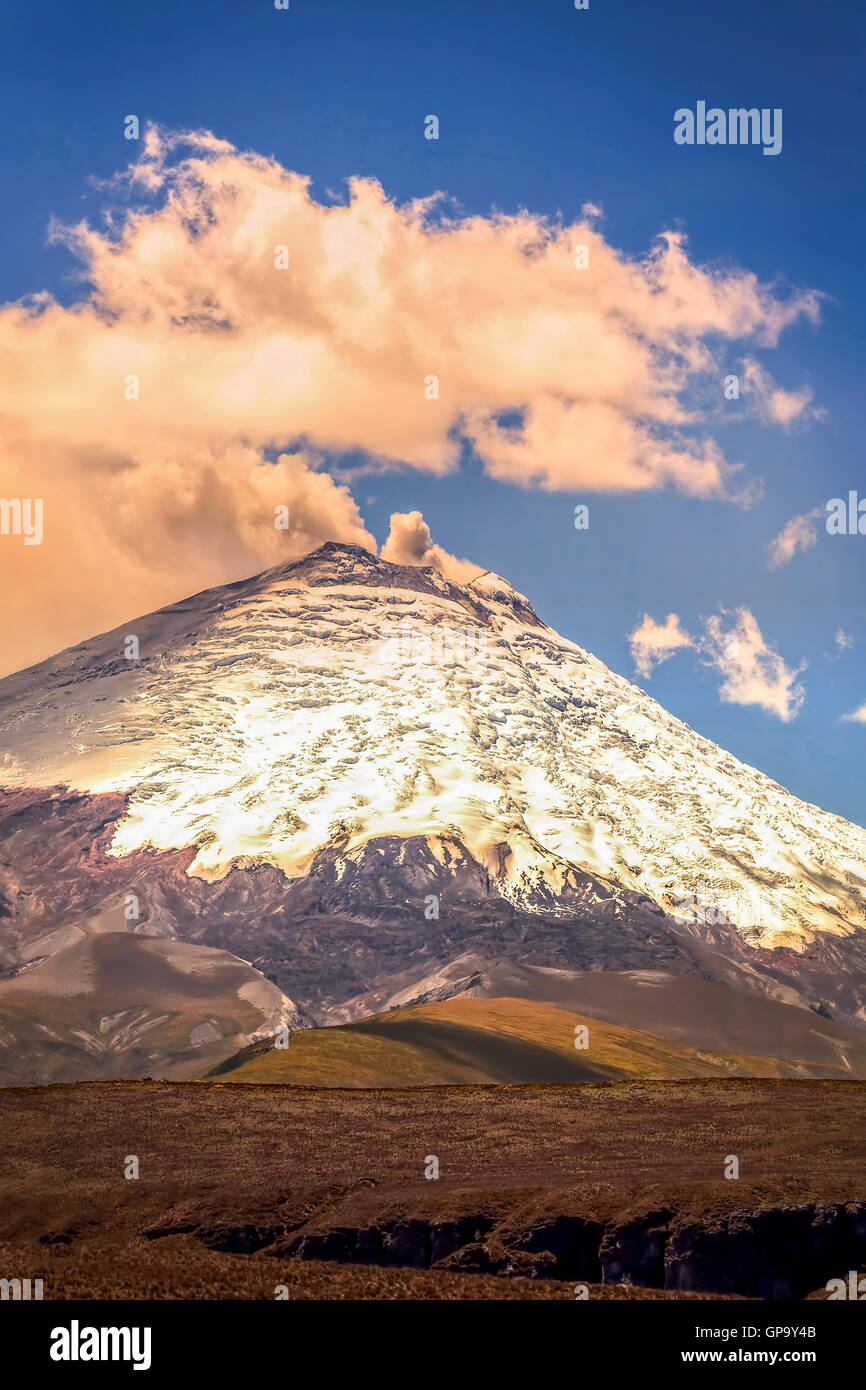 Amazing View With Gas Eruption Of Cotopaxi Volcano, Ecuador, South America - Stock Image
