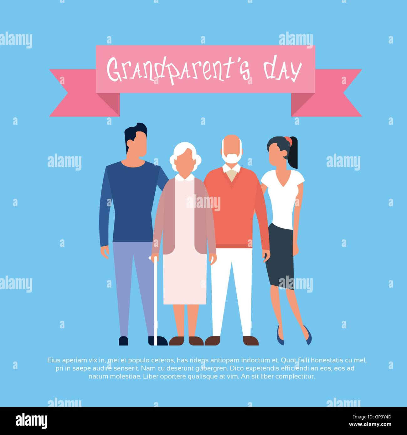 Family grandfather with grandmother happy grandparents day greeting family grandfather with grandmother happy grandparents day greeting card banner m4hsunfo
