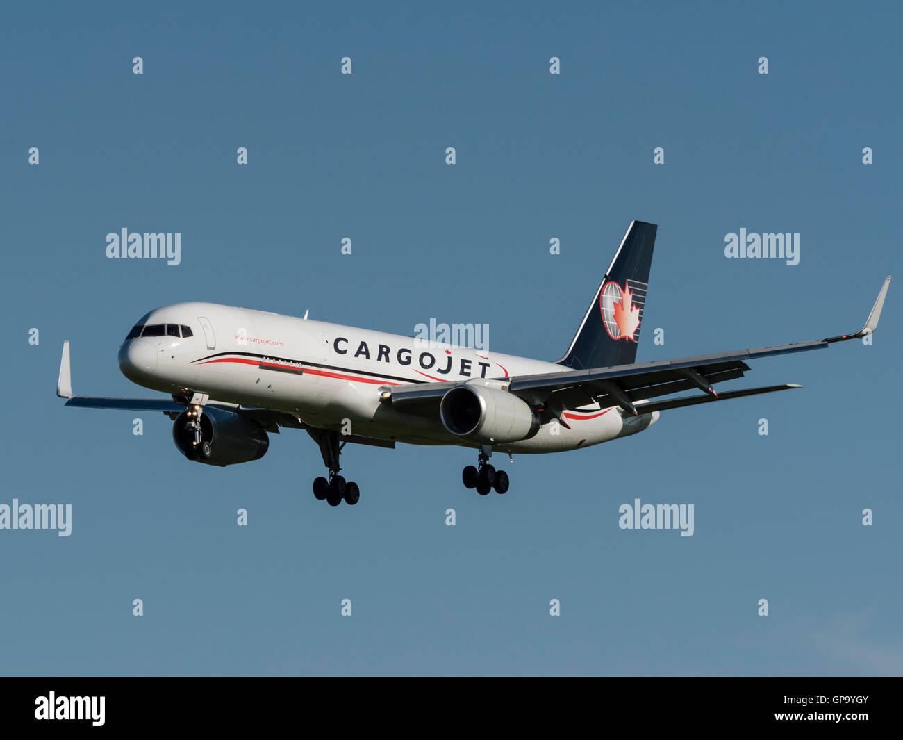 Cargojet Airways Boeing 757 C-FGKJ air cargo freighter final approach for landing Calgary International Airport, - Stock Image