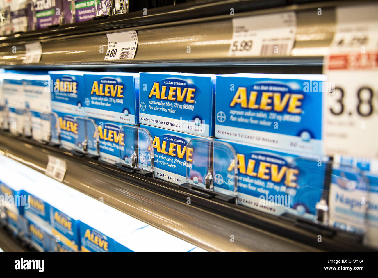 Over The Counter Pain Reliever Aleve On A Shelf At A Pharmacy Stock