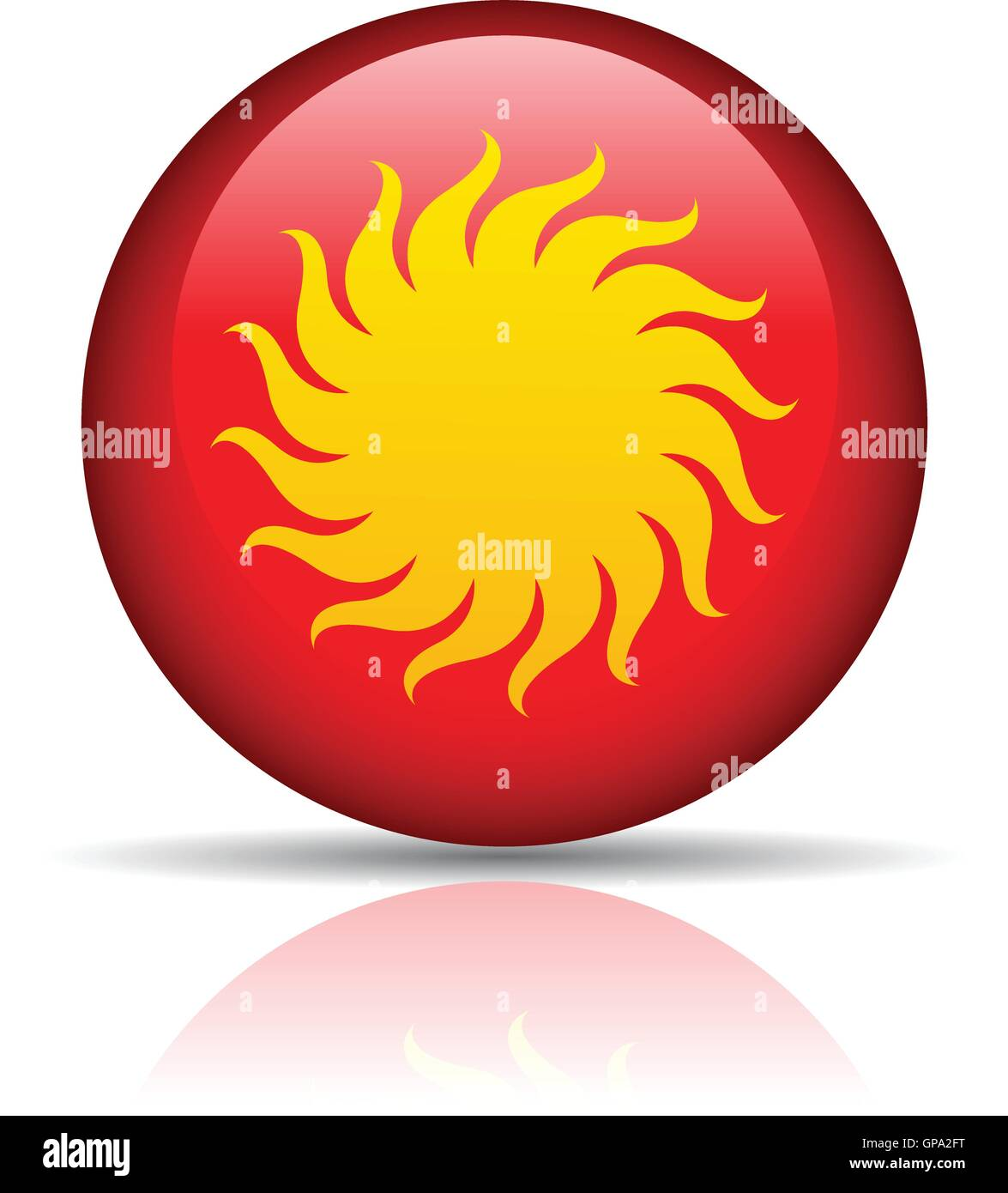 Sun in red button isolated on white - Stock Vector