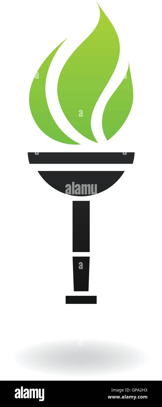 Ancient green and black torch isolated on white - Stock Vector