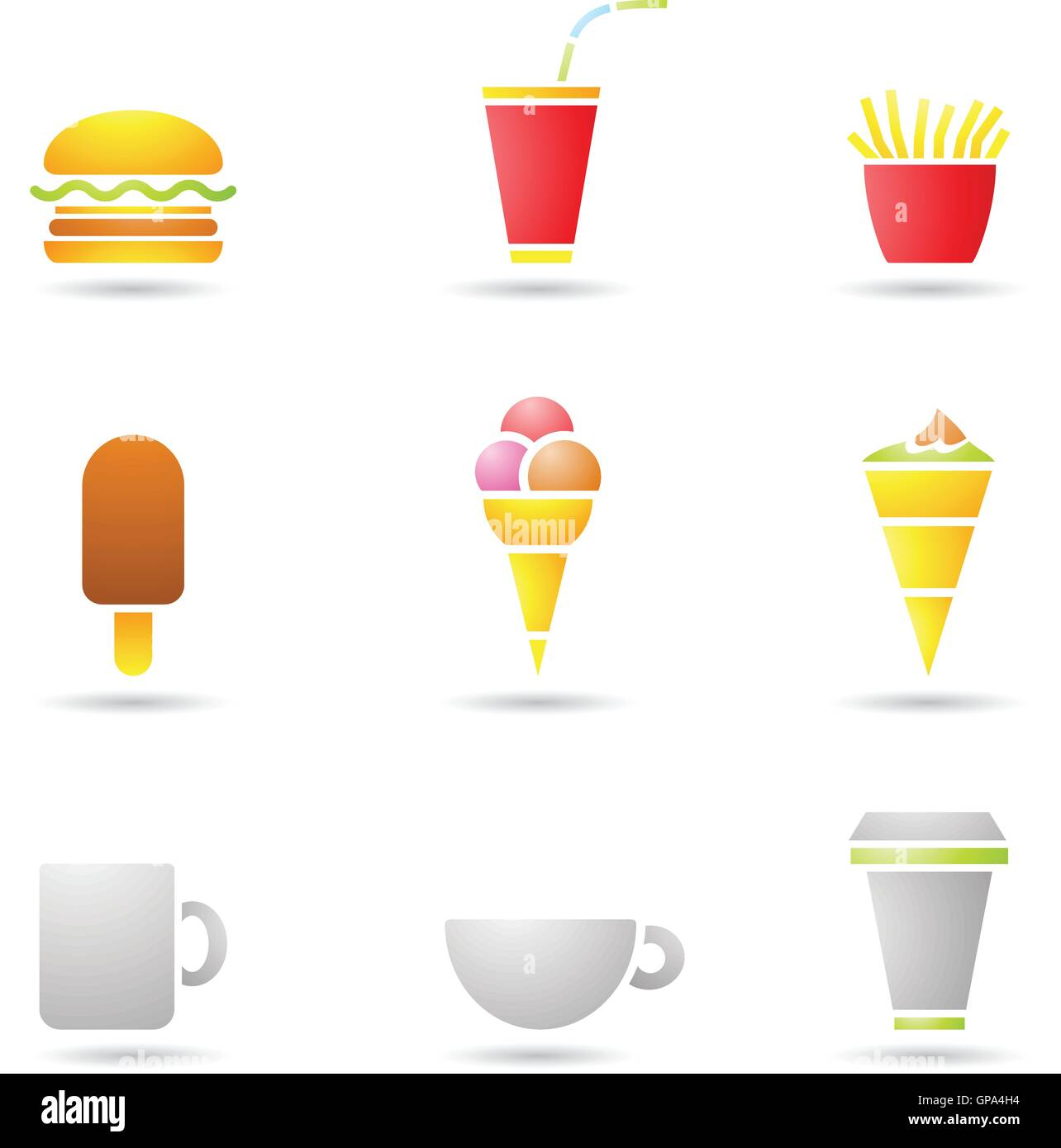 Vector illustration of ice cream, coffee and fast food icons - Stock Vector