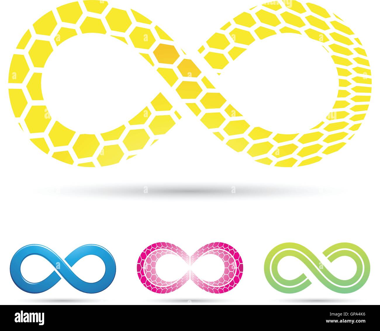 Vector Illustration Of Infinity Symbols With Honeycomb Pattern Stock