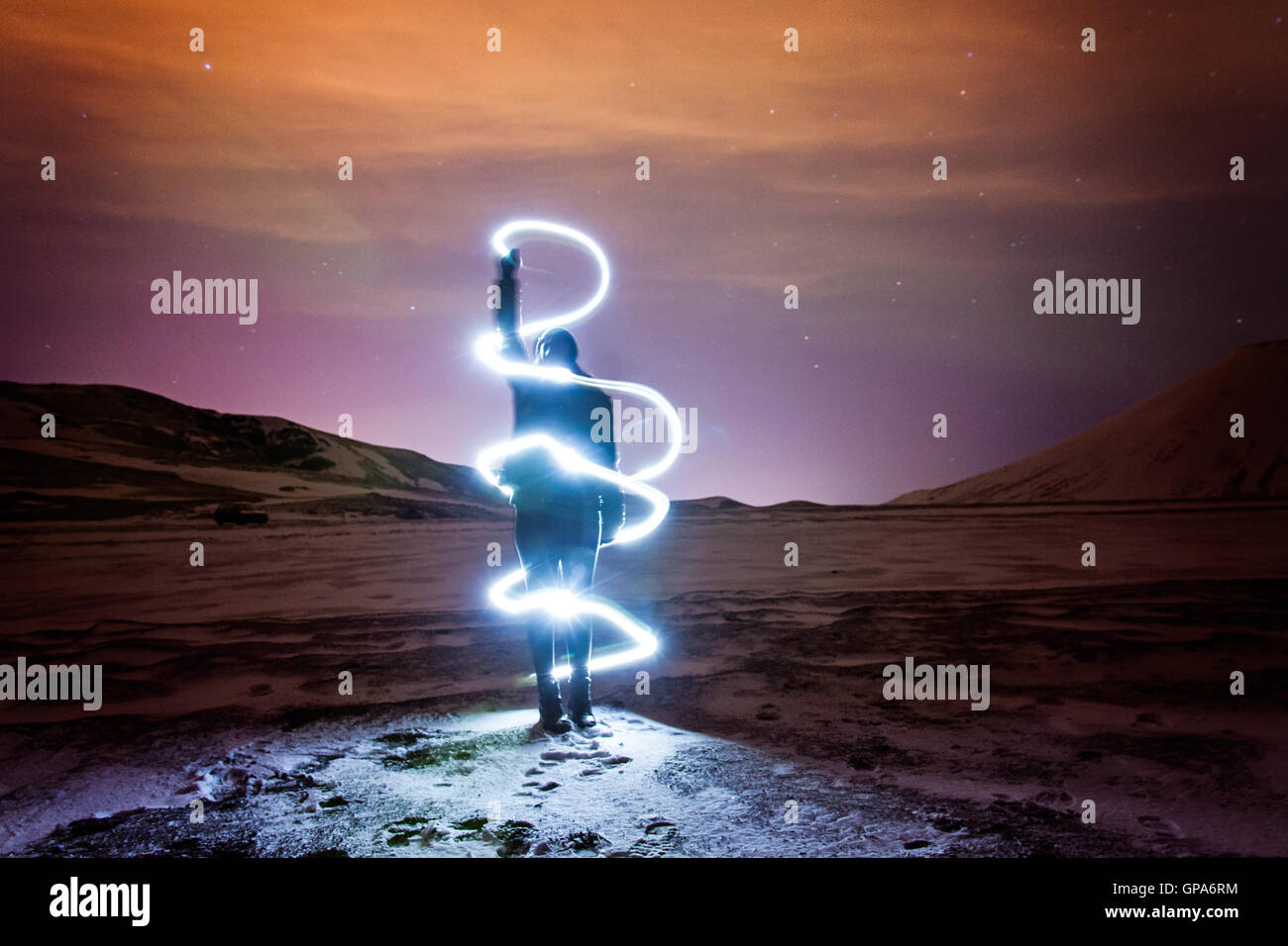 Light painting in Iceland - Stock Image