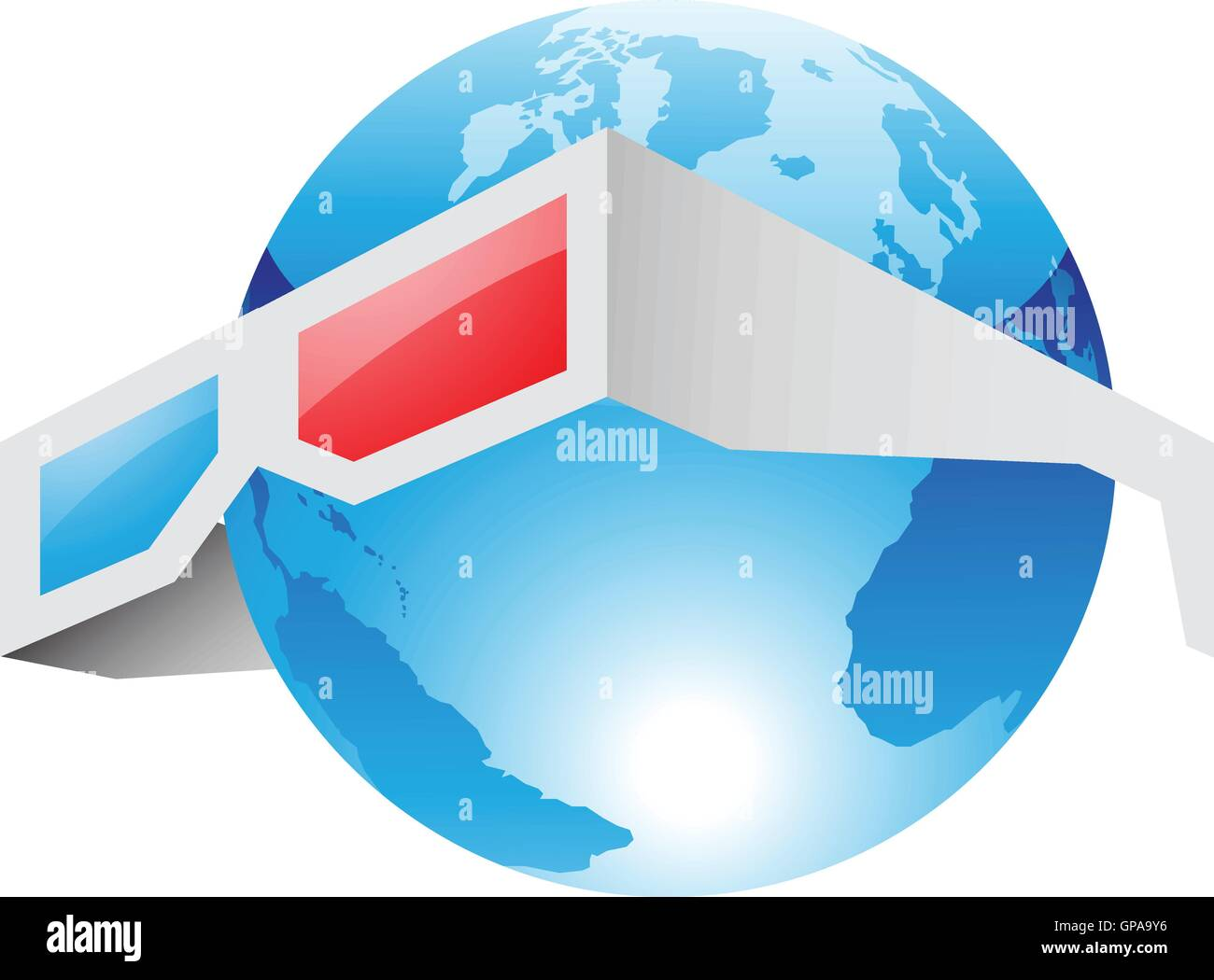 Illustration of 3d Red Blue Glasses and World isolated on a white background - Stock Vector