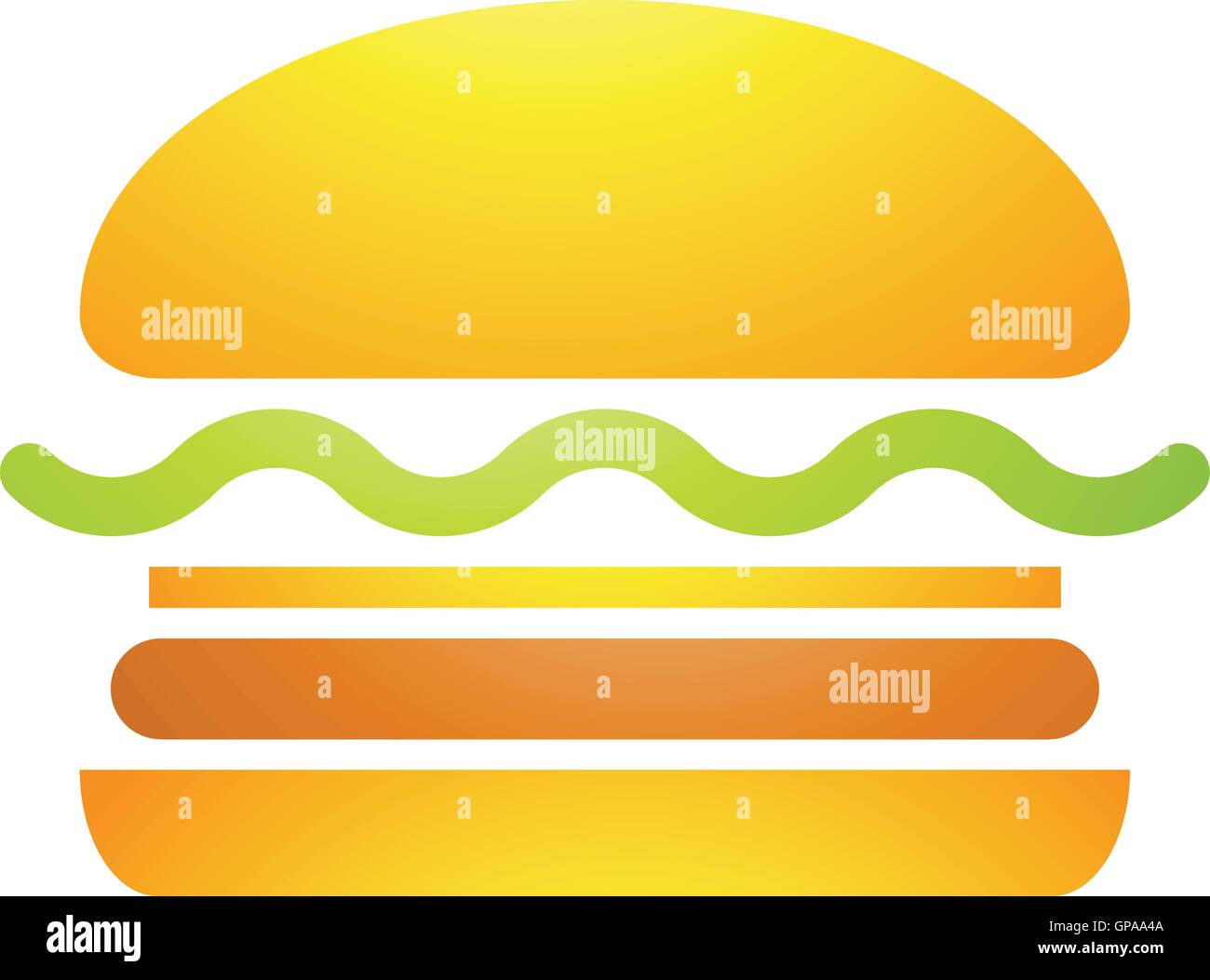 Illustration of Fast Food Burger Icon isolated on a white background - Stock Vector