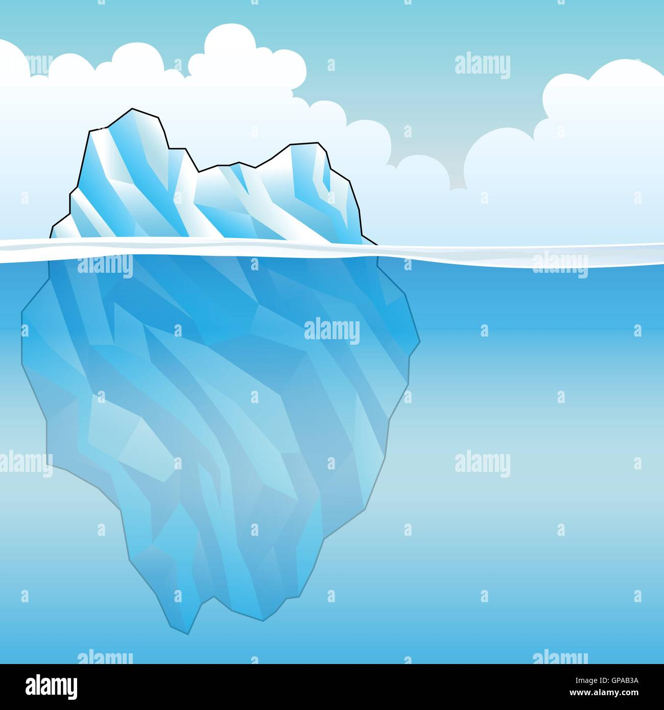 Blue Iceberg on a bright cloudy day Vector Illustration - Stock Vector