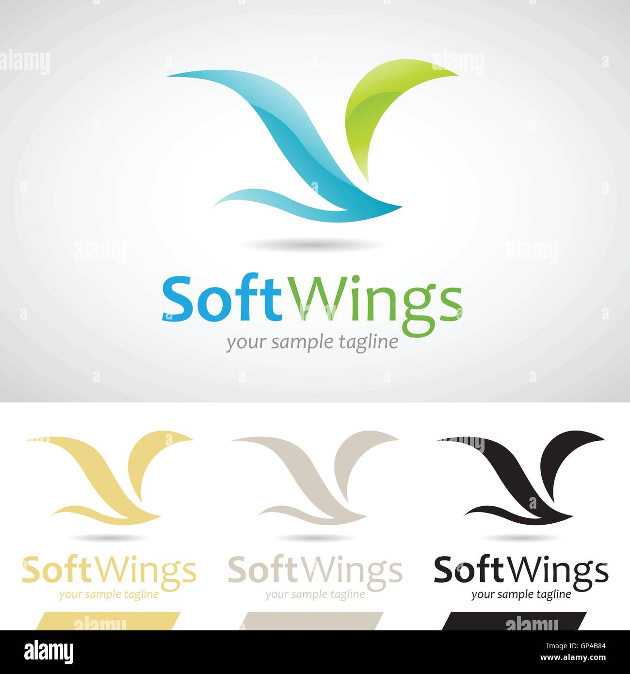 Blue and Green Soft Wings Bird Logo Icon Vector Illustration Stock Vector