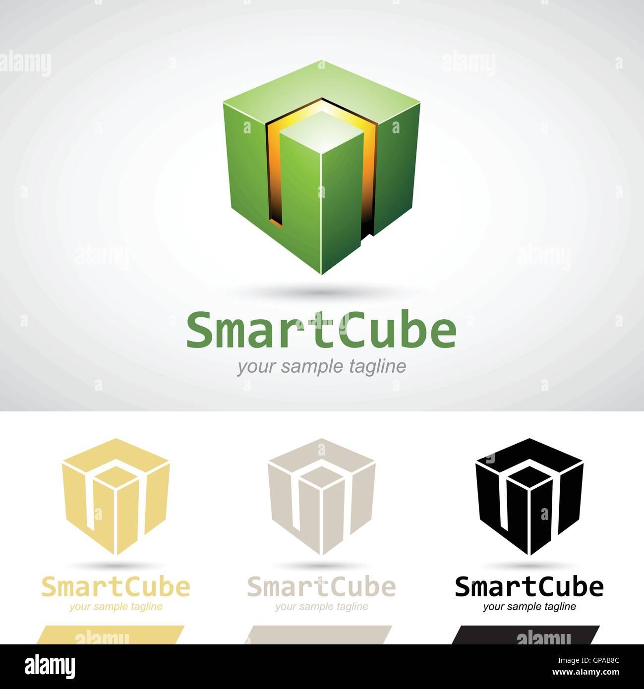 Green Shiny 3d Cube Logo Icon Vector Illustration Stock Vector