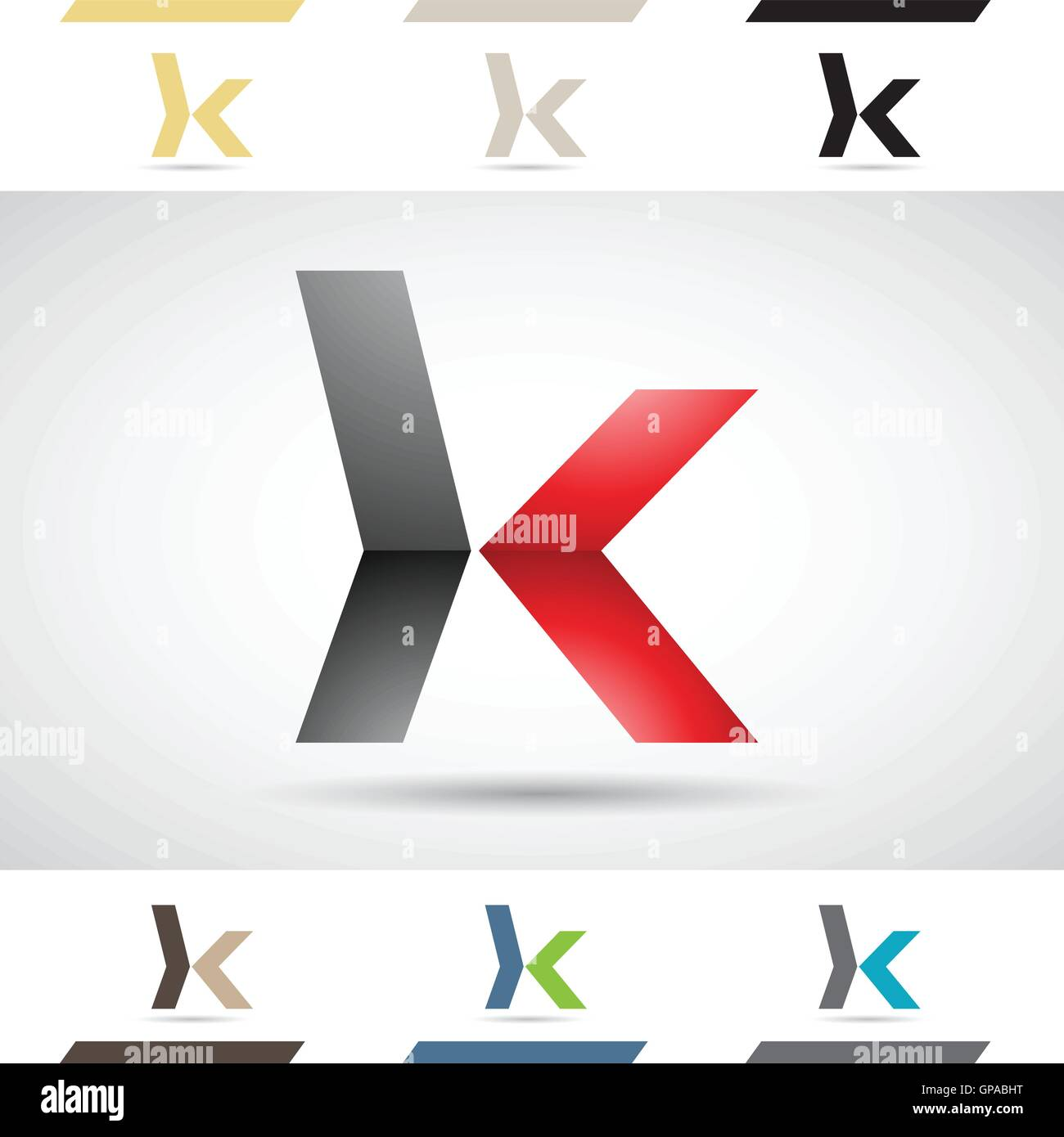Design Concept of Colorful Stock Logos Icons and Shapes of Letter K, Vector Illustration - Stock Image