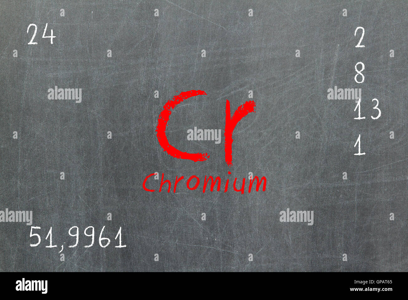 Isolated Blackboard With Periodic Table Chromium Stock Photo