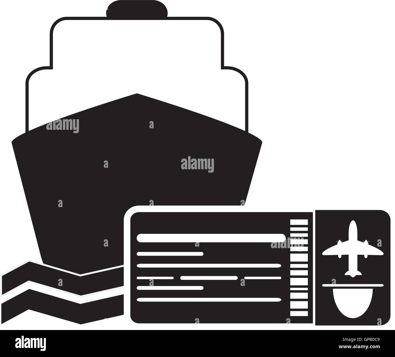 cruise ship and boarding pass icon - Stock Image
