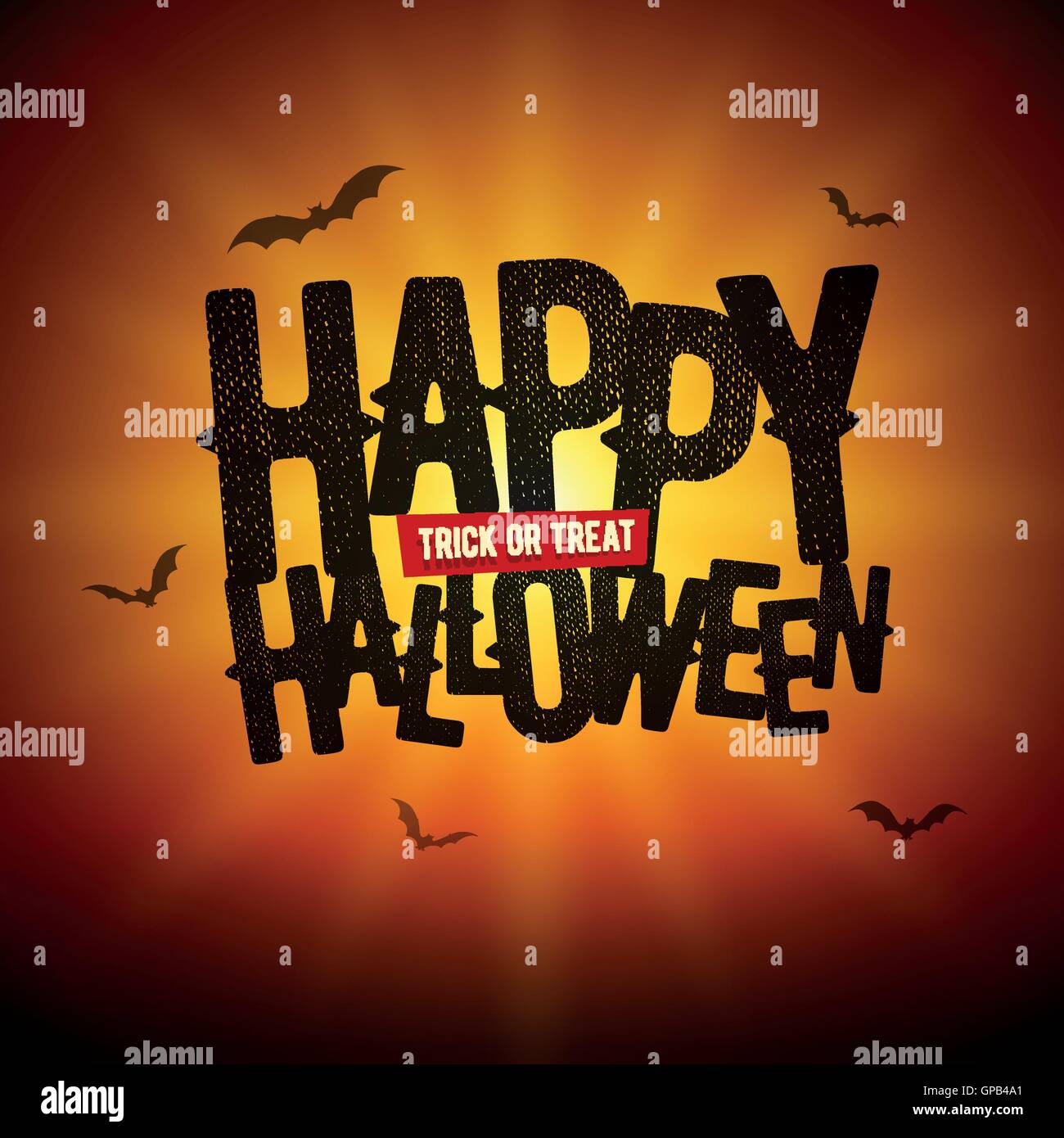 Vector Happy Halloween design with Trick or Treat text and bat silhouette illustration. - Stock Image