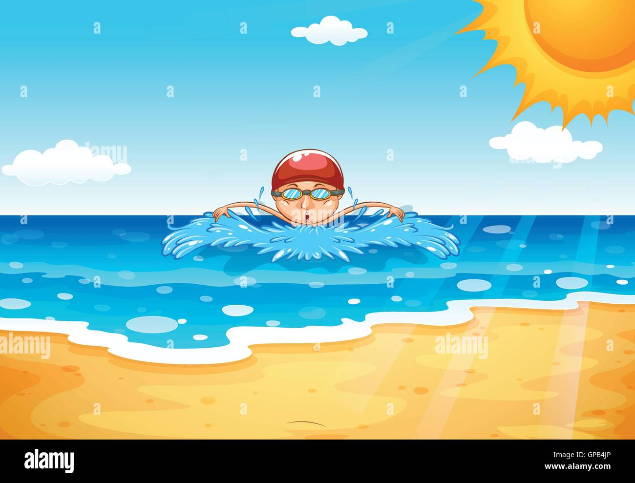 Man swimming in the ocean illustration Stock Vector Art ...
