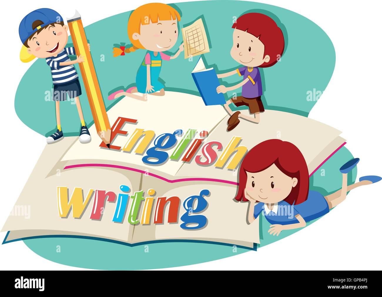 kids working on english writing illustration stock vector art