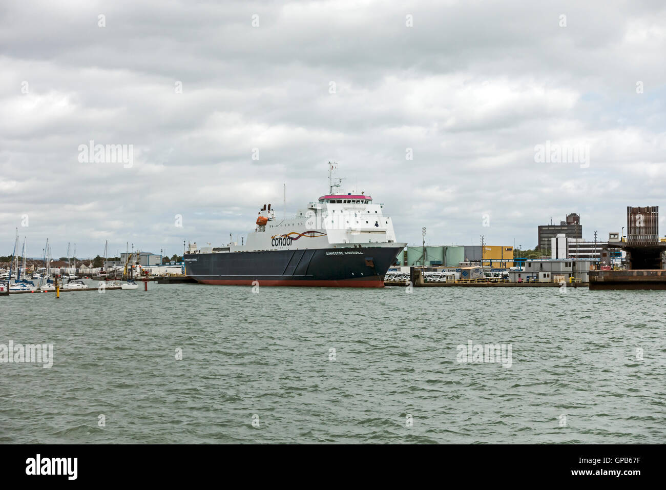 Condor Ferries Commodore Goodwill moored in Portsmouth harbour Portsmouth England - Stock Image