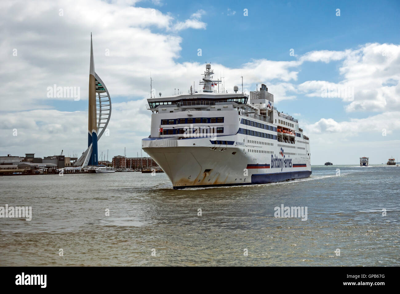 Brittanny Ferries car and passenger ferry Normandie arriving at Portsmouth harbour Portsmouth England - Stock Image