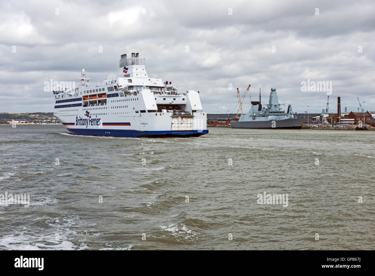 Brittanny Ferries car and passenger ferry Normandie arriving at Portsmouth harbour Portsmouth England With Type - Stock Image