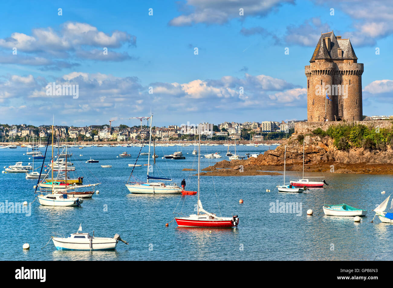 Solidor tower on atlantic coast in  Saint Malo, Brittany, France - Stock Image