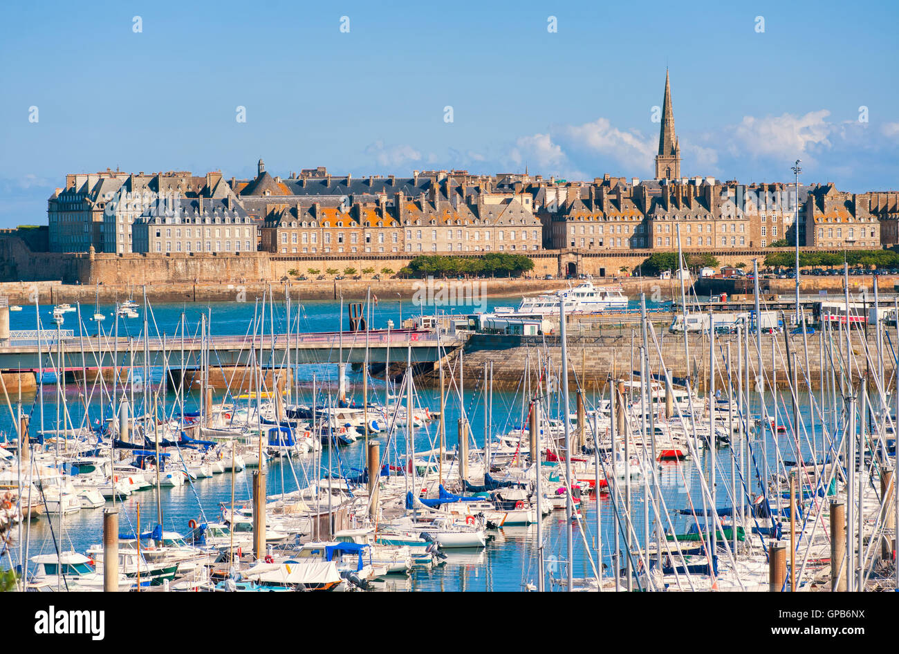 Yacht harbour and walled city of St Malo, Brittany, France - Stock Image