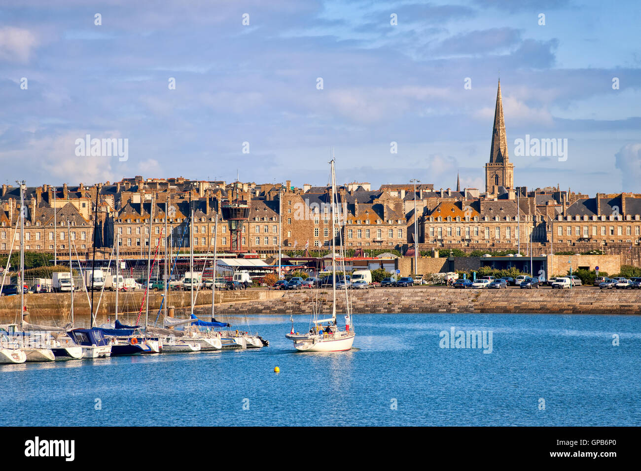 Yacht harbour and walled city of Saint-Malo, Brittany, France - Stock Image