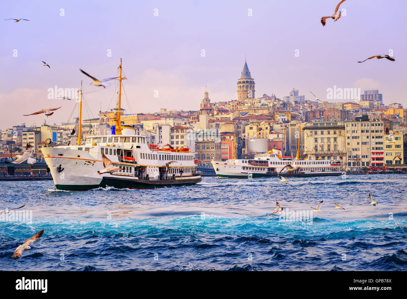 Ships crossing the Golden Horn, Istanbul, Turkey - Stock Image