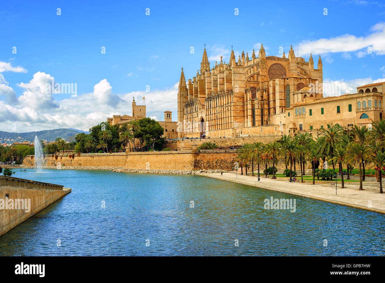 La Seu, the gothic medieval cathedral of Palma de Mallorca, Spain - Stock Image