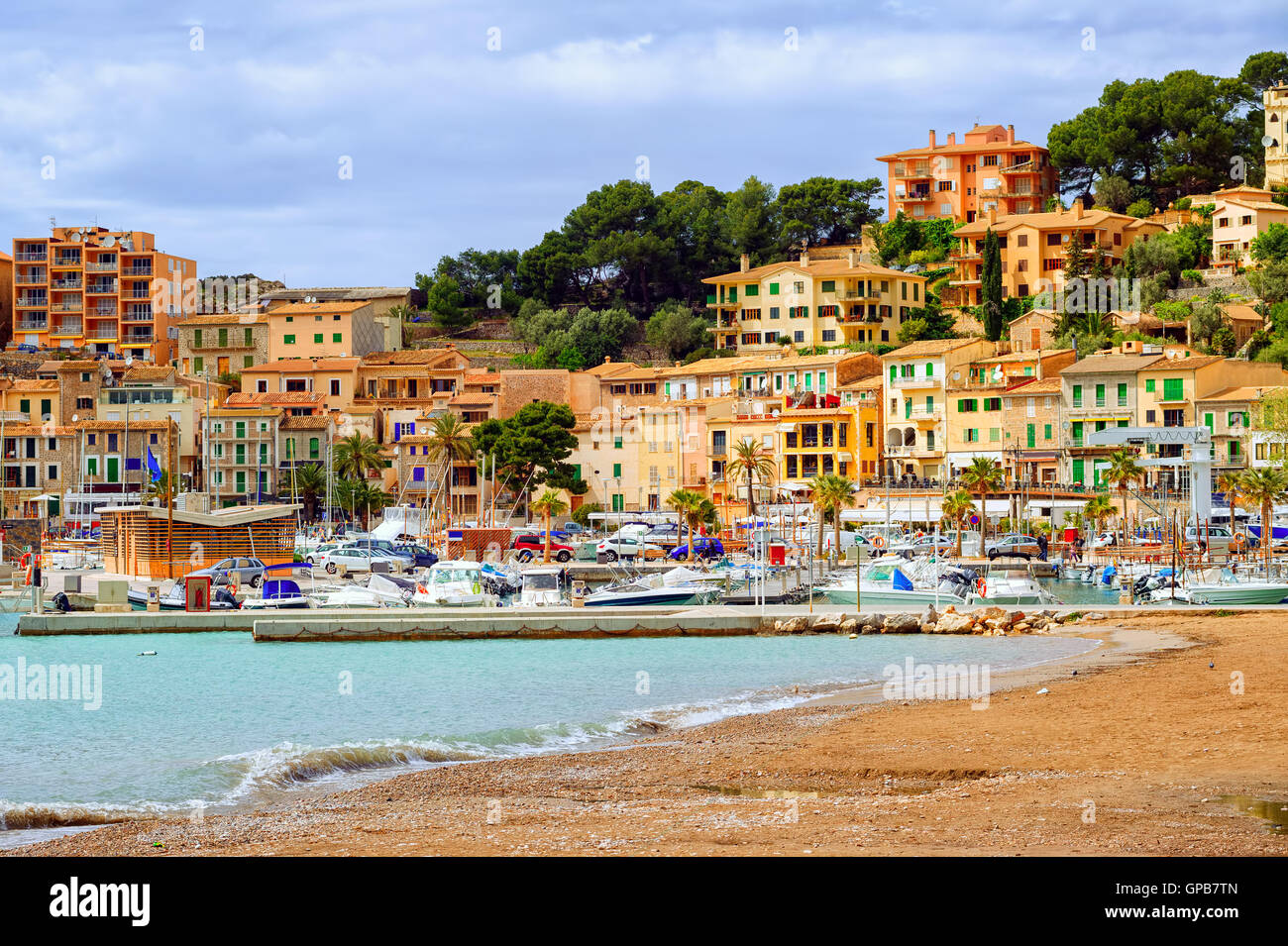Mediterranean beach in the marina of Port Soller, Mallorca, Spain - Stock Image