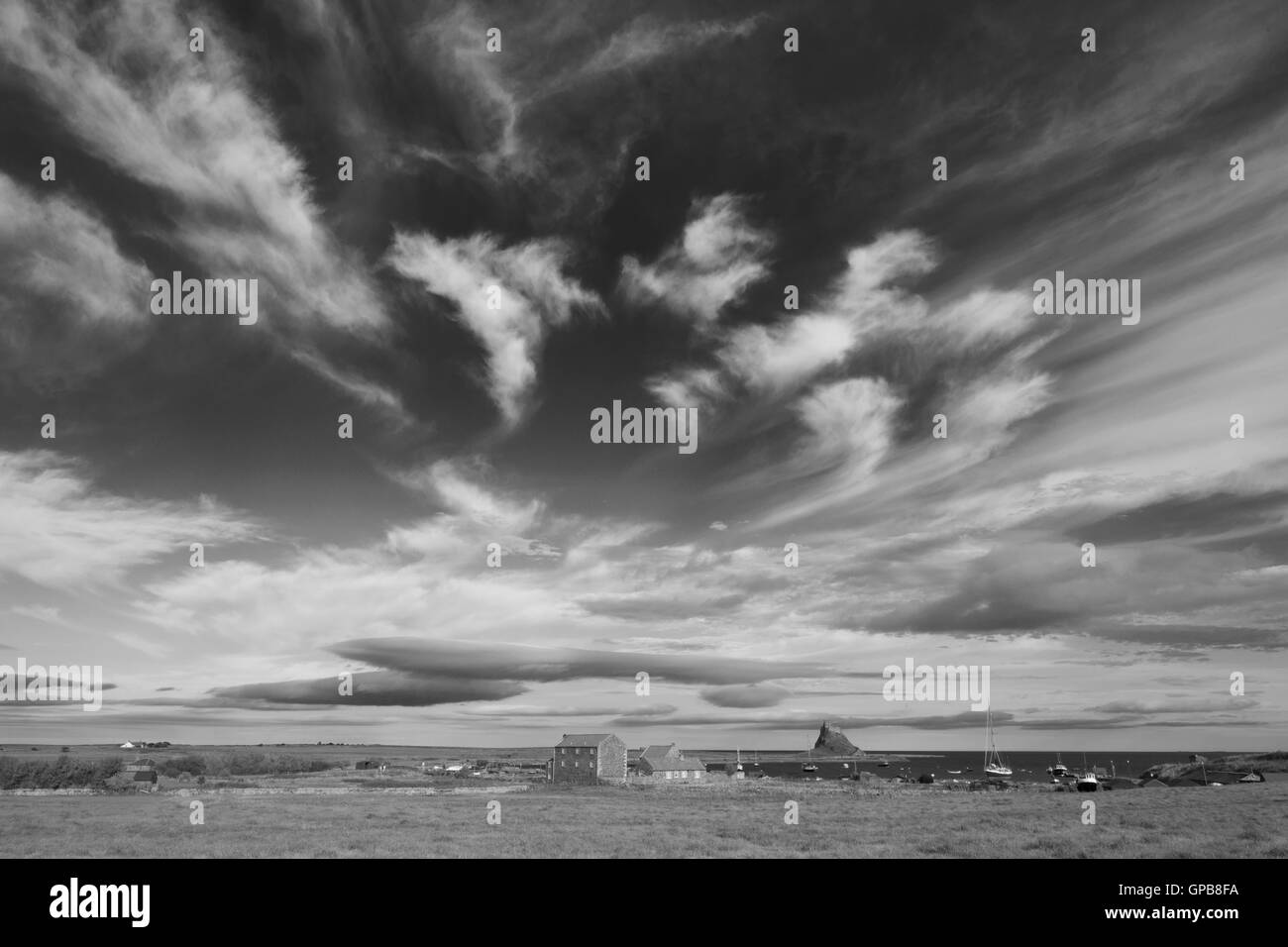 Skyscape on Holy Island of Lindisfarne, Northumberland, North East England, UK - Stock Image