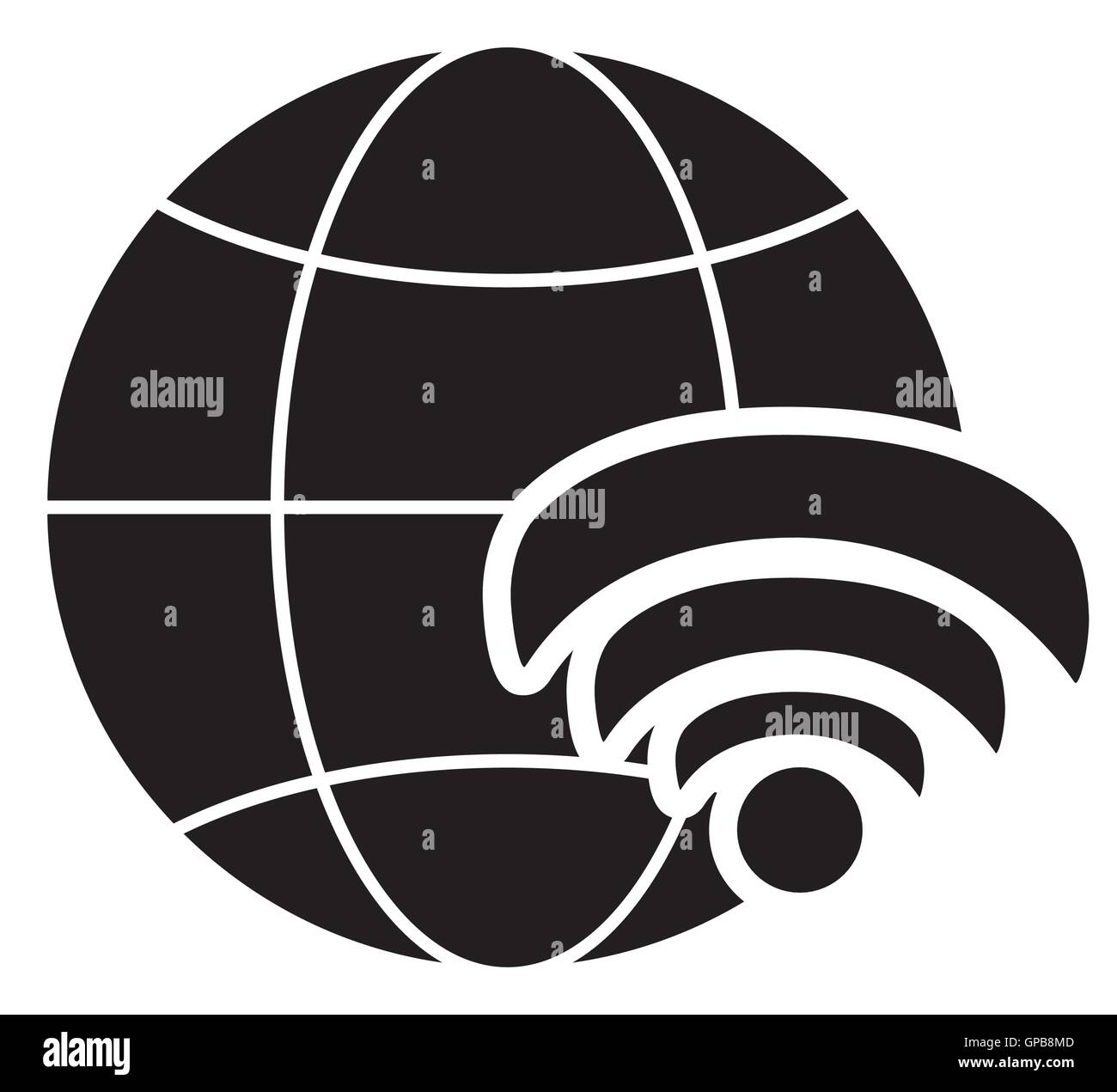 earth globe diagram and wifi signal icon - stock image