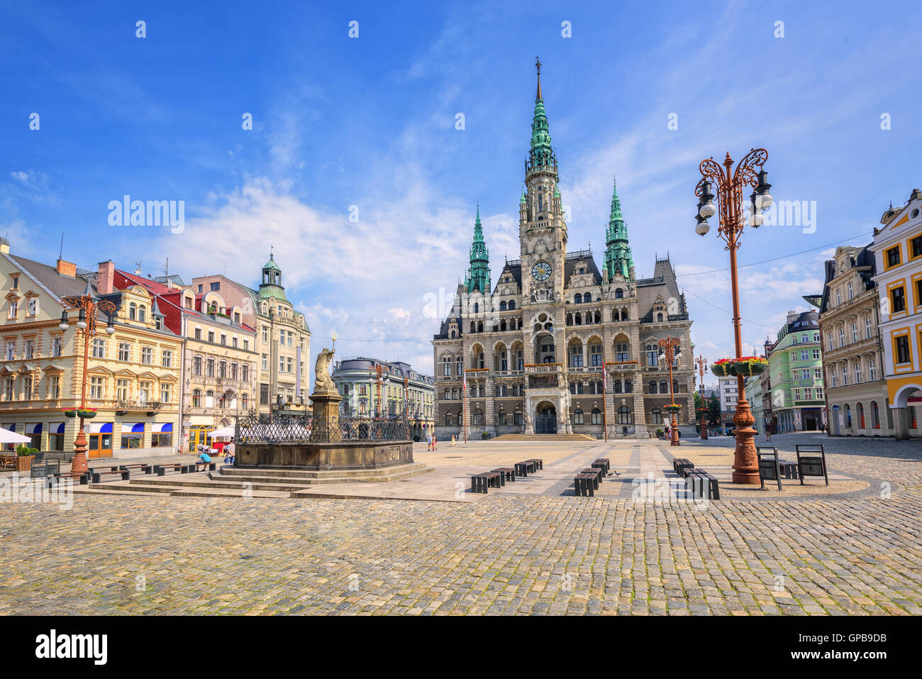 The town hall and the central square in Liberec, Czech Republic Stock Photo