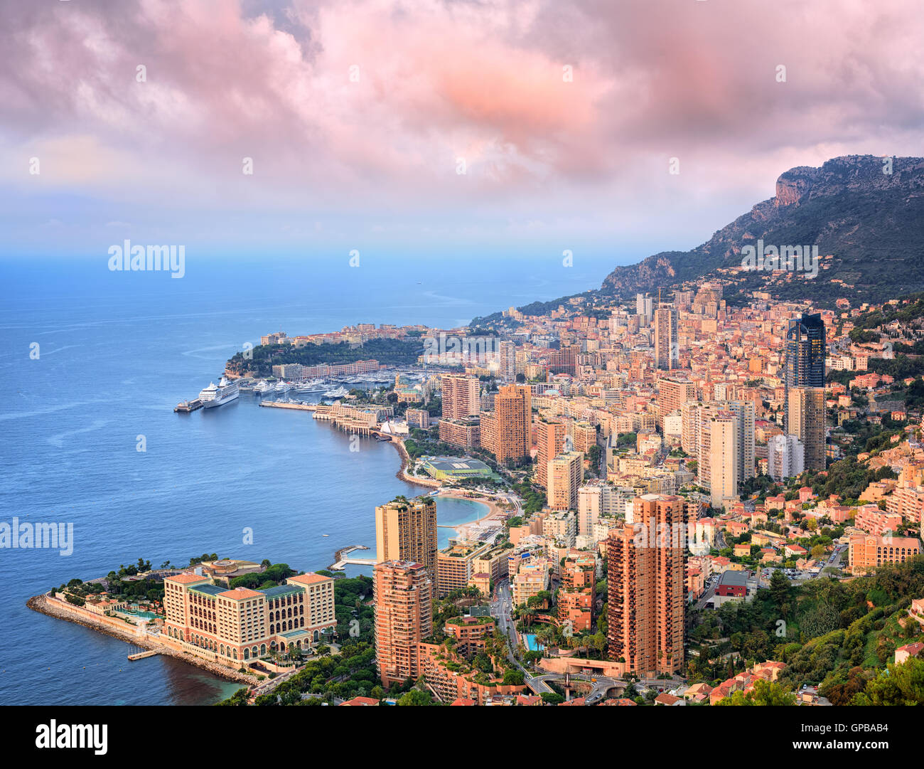 View of Principality of Monaco at sunrise - Stock Image