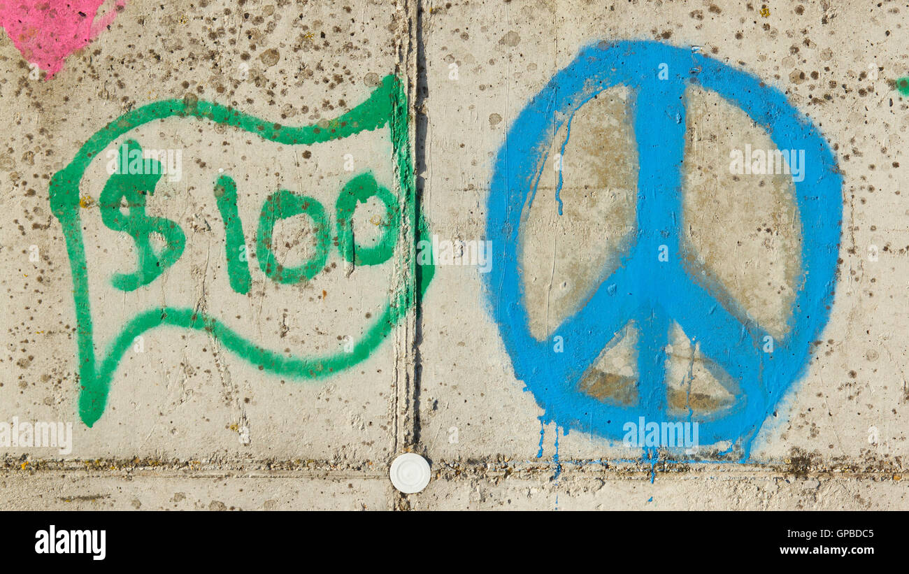 Simple Graffity On A Concrete Wall Dollar And Piece Sign Stock