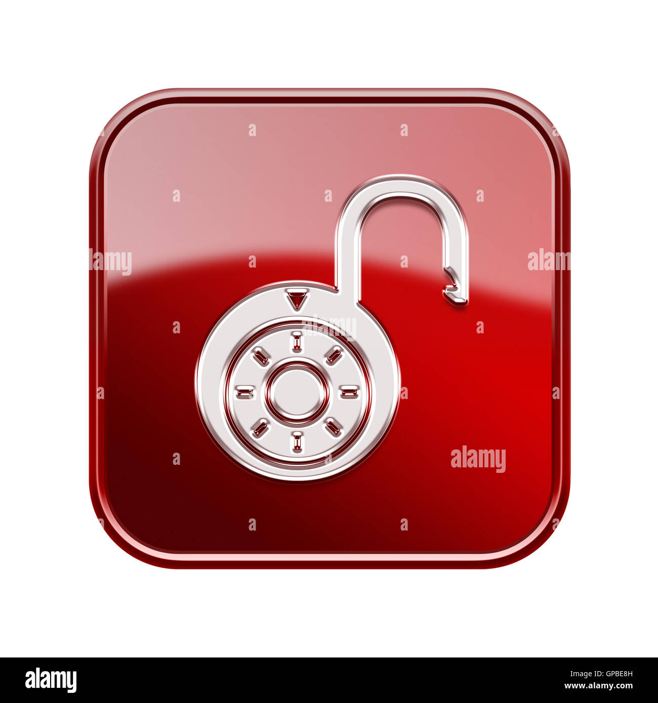 Lock on icon glossy red, , isolated on white background. - Stock Image