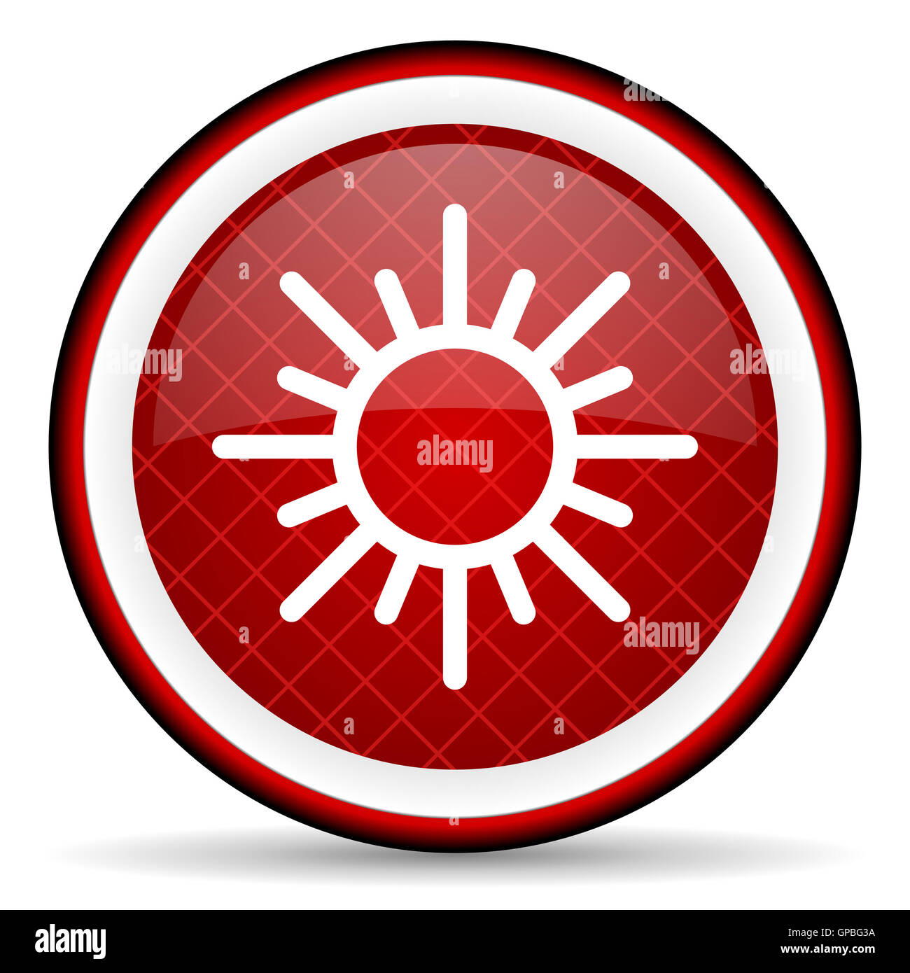sun red glossy icon on white background - Stock Image