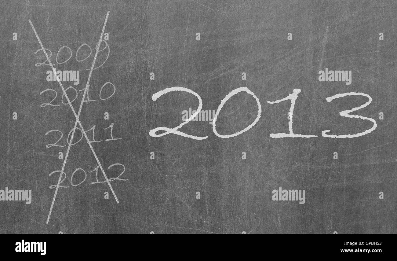 2009, 2010 and 2012 crossed and new year 2013 written on chalkbo - Stock Image