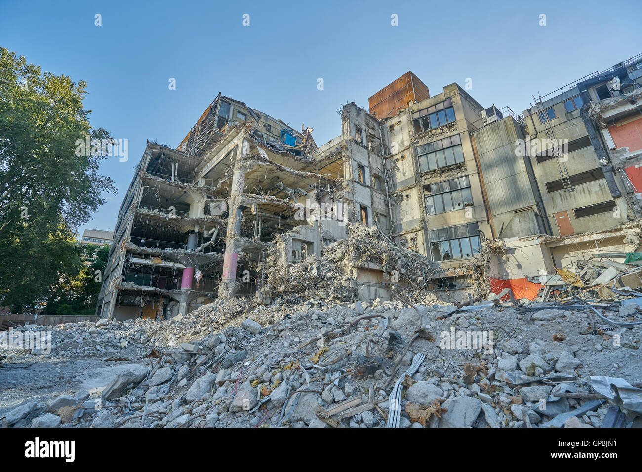 demolition site London.     60s buildings demolished, London - Stock Image