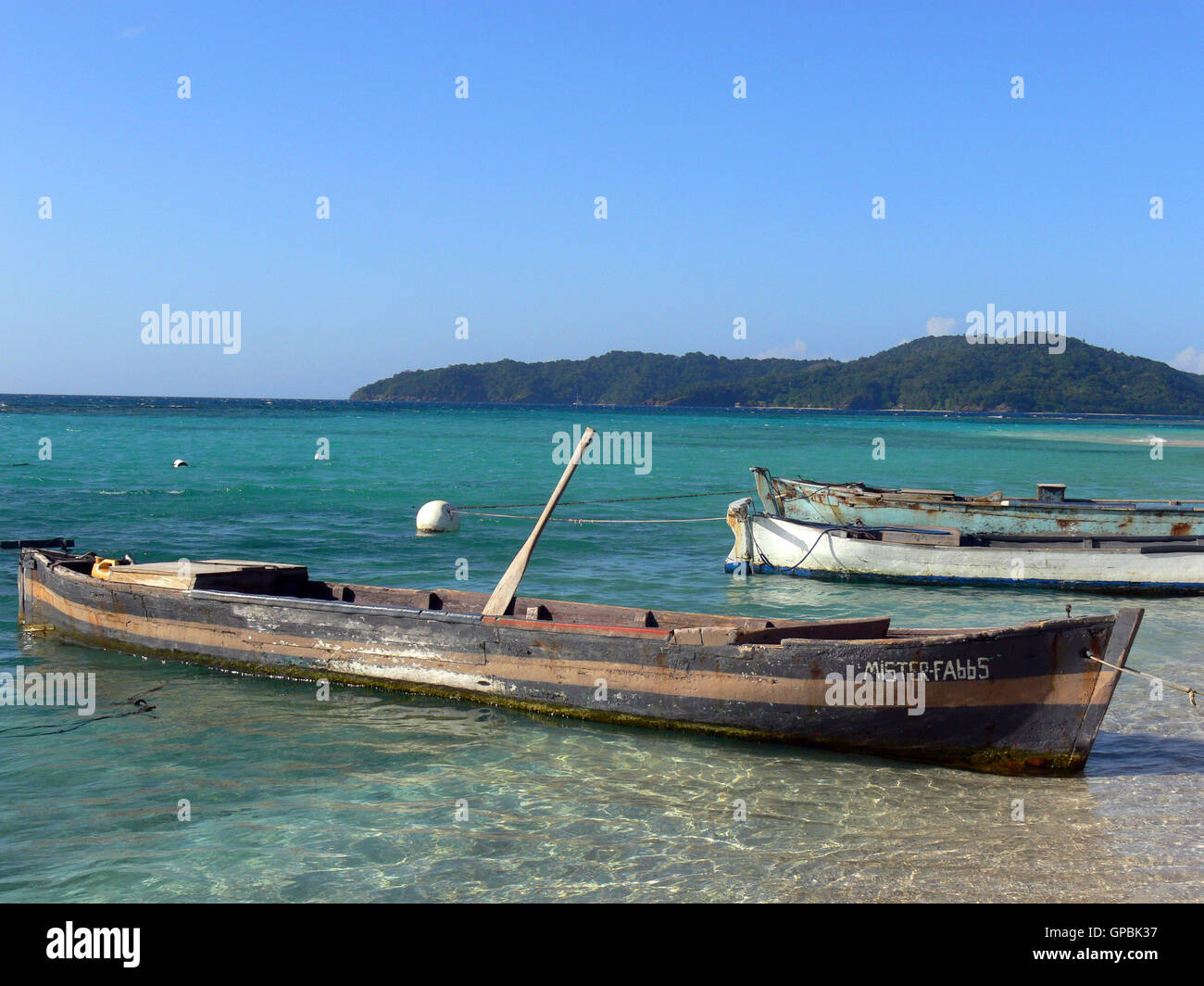 ATLANTIDA/HONDURAS - CIRCA MARCH 2012: View of transparent waters and fishermen boats in Cayo Chachauate, archipelago Stock Photo