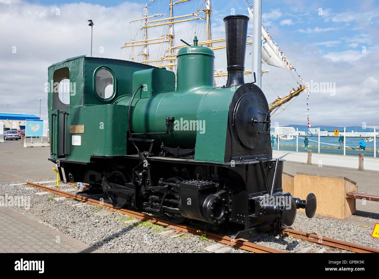 early icelandic steam locomotive minor exhibited in reykjavik harbour Iceland - Stock Image